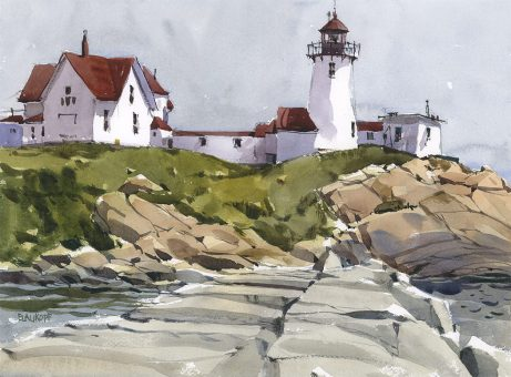 Breakwater by Shari Blaukopf - Urban sketching and watercolor painting of lighthouse and rocks near seascape - Doodlewash