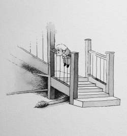 Doodlewash by Luke Scriven - watercolor sketch and children's illustration of little boy peering over the stairs at a lion's tail