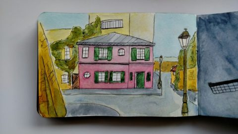Doodlewash by Rob Nopola urban sketching pink house and street