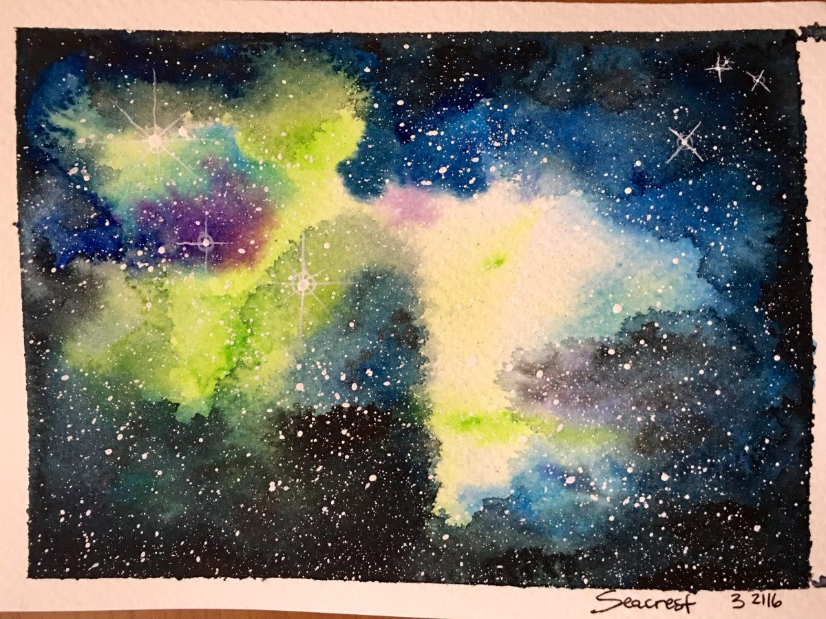 Nebula watercolor painting by Jessica Seacrest using Mission Gold watercolors