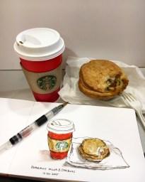 Doodlewash by Siew Tin Starbucks watercolor sketch food illustrator