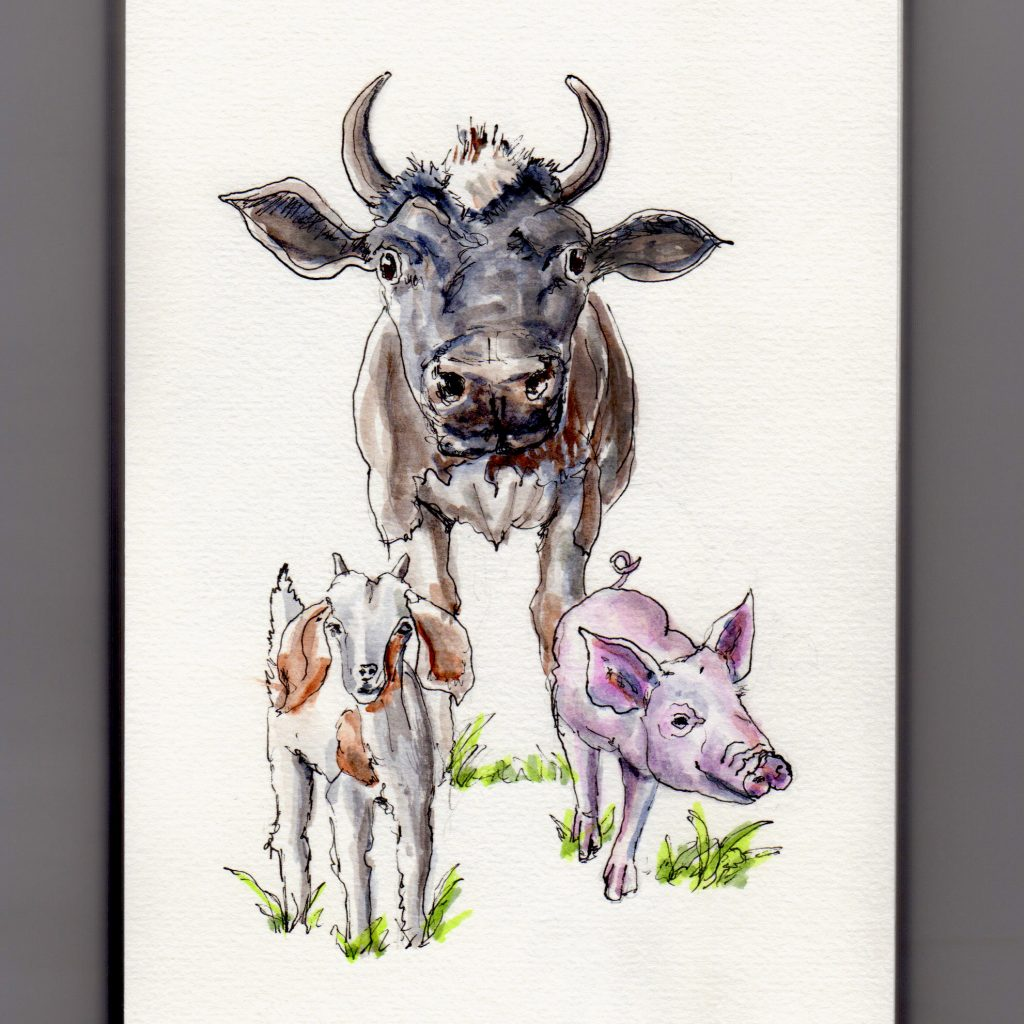 National Farm Animals Day Doodlewash watercolor illustration of farm animals cow, goat, and pig