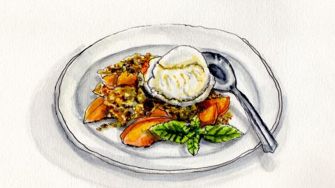 National Peach Cobbler Day Doodlewash and watercolor sketch of peaches in cobbler with mint leaf and spoon on plate