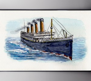 National Titanic Rembrance Day Watercolor of Titanic in ocean