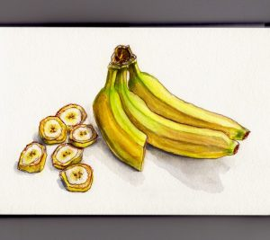 Banana Day - Doodlewash and watercolor of bananas and banana slices on table