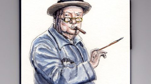 Winston Churchill as a painter - doodlewash and watercolor sketch holding a paint brush and smoking a cigar