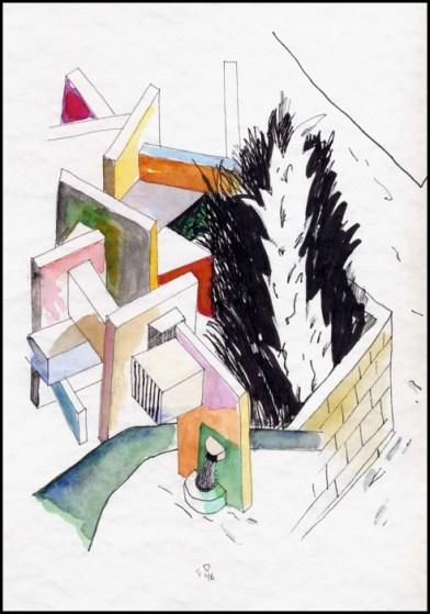 Guest Doodlewash by Edoardo Dispenza - watercolor of a wall graveyard