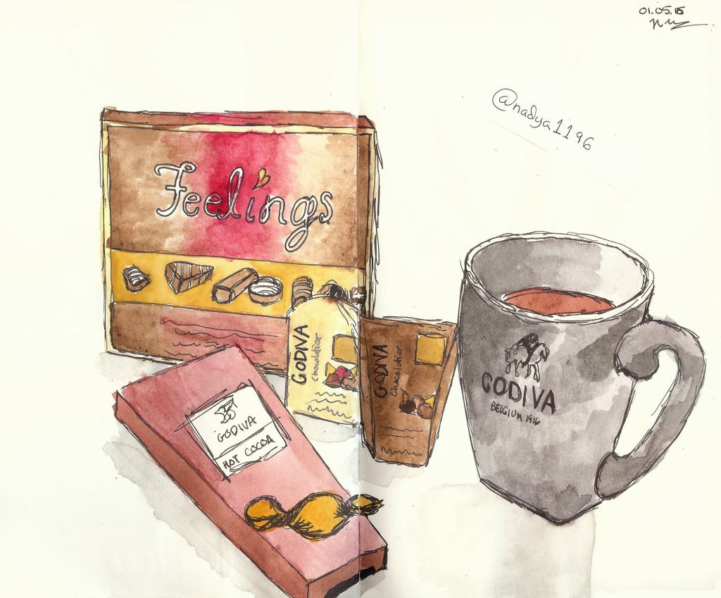 Doodlewash by Nadya Levitova - watercolor sketch of Godiva chocolates mug and box of chocolates