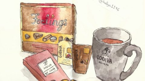 Doodlewash by Nadya Levitova - watercolor sketch of Godiva chocolates mug and box of chocolates