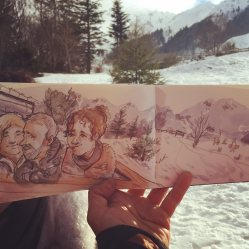 Doodlewash and watercolor sketch of people on snowy mountain in France by Tazab