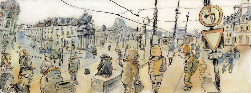 Doodlewash and watercolor sketch of street scene in France by Tazab