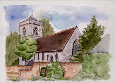 By Hannah Ridout - Doodlewash and watercolor of a church with trees