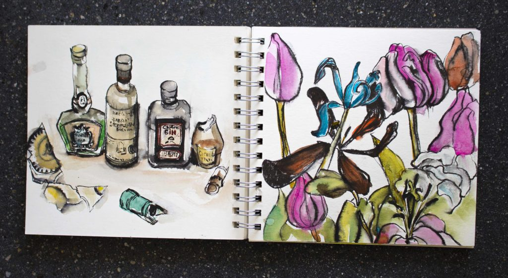 Doodlewash and watercolor sketch by Magny Tjelta of flowers and glass bottles