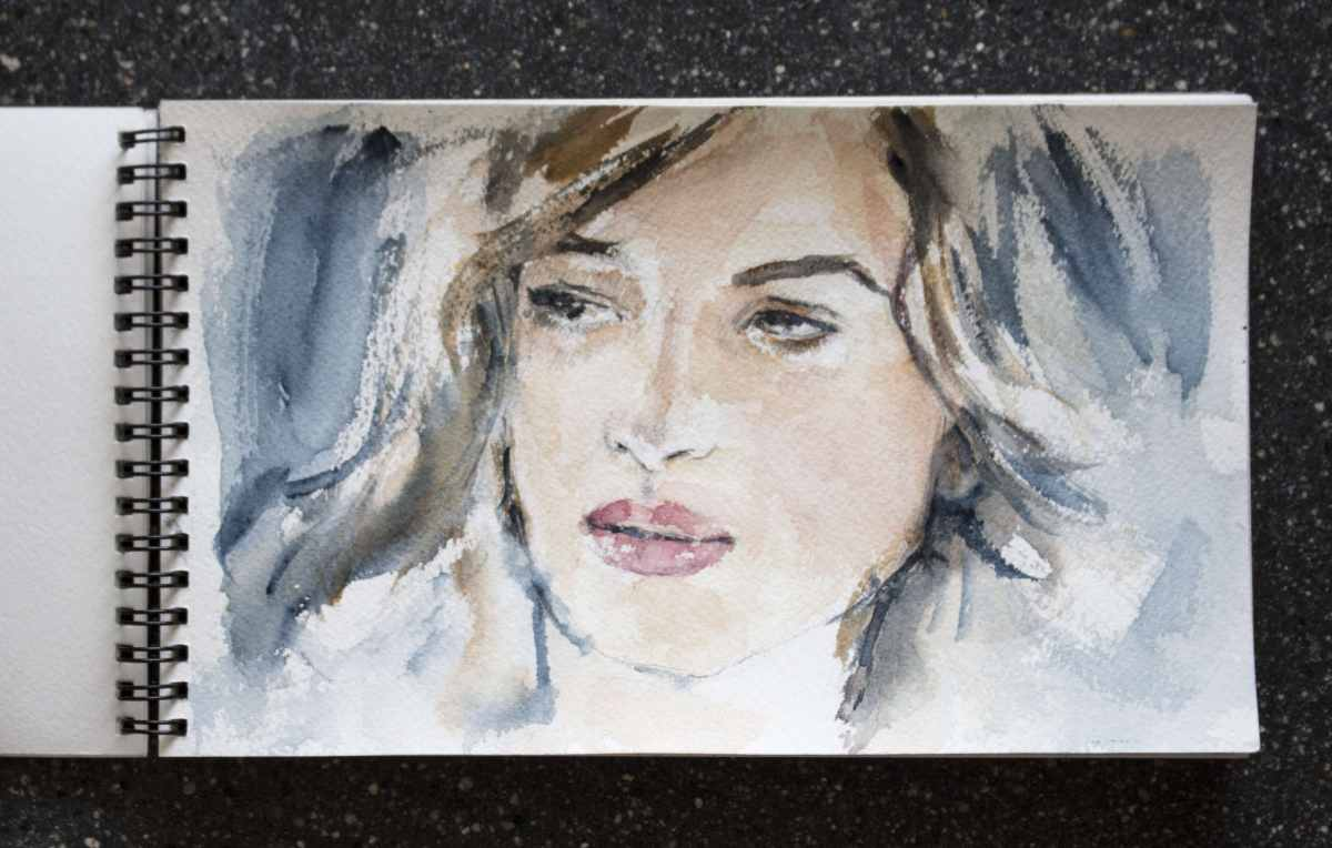 Doodlewash and watercolor sketch by Magny Tjelta of woman's face