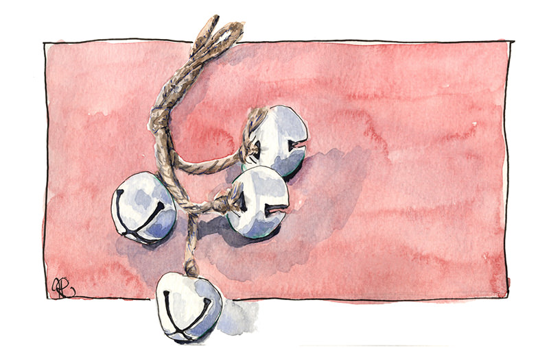 By Hannah Ridout - Doodlewash and watercolor of jingle bells