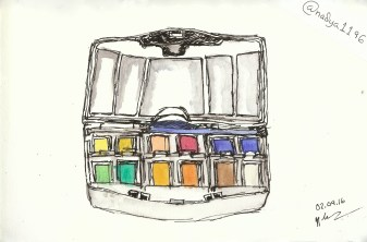Doodlewash by Nadya Levitova - watercolor sketch of travel palette of watercolors