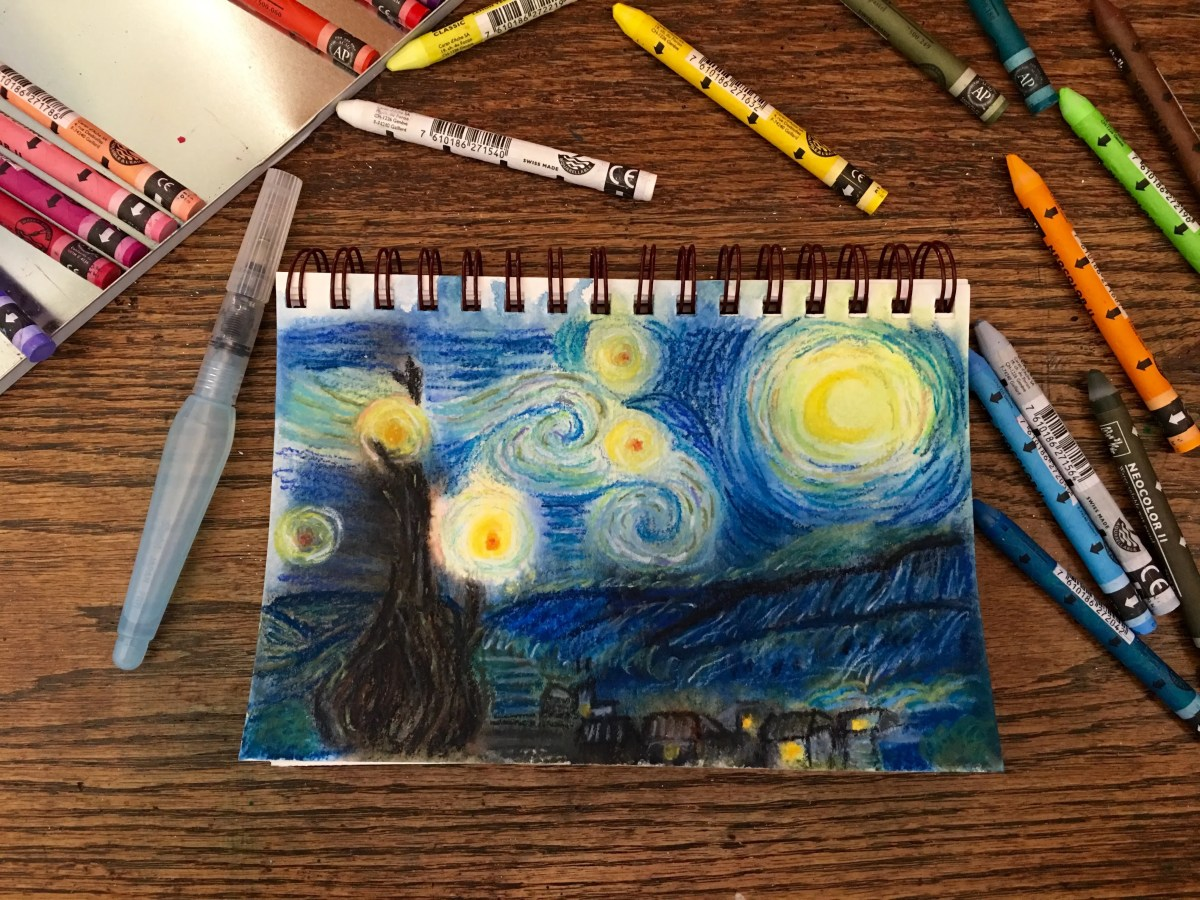 Van Gogh's Starry Night using Caran D'ache Neocolor II progress pic after too much water was added and then reworked