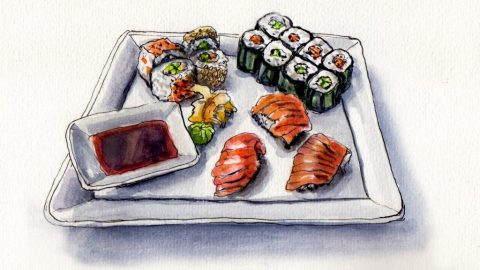 Sushi Night - Doodlewash and watercolor sketch of sushi dinner with rolls sashimi salmon avocado and soy sauce in plate