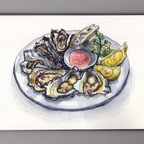 Oysters on the half shell doodlewash watercolor sketch of oysters with lemon and bread on plate
