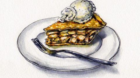 National Apple Pie Day Doodlewash - Watercolor sketch of apple pie ala mode and à la mode with vanilla bean ice cream on white plate with fork