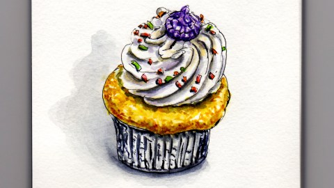 Cupcakes A Tale of Tall Frosting Doodlewash of vanilla cupcake with buttercream frosting in metal cup