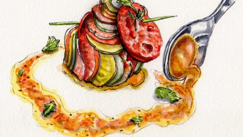 Remy's Ratatouille - Doodlewash and watercolor sketch inspired by Pixar movie tomatoes zucchini eggplant spoon sauce