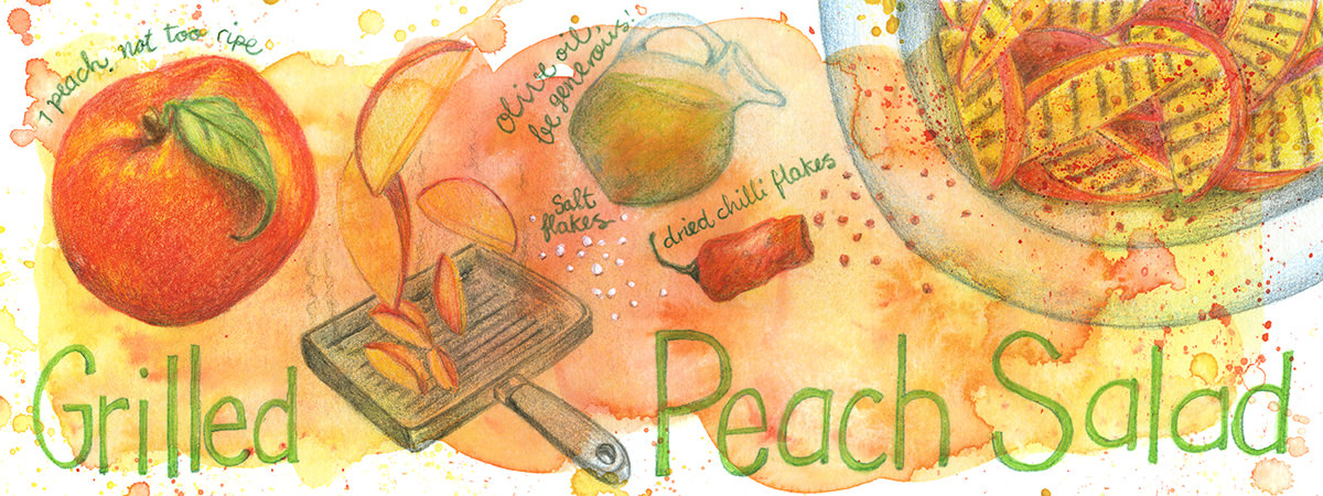 Doodlewash and watercolor sketch by Koosje Koene Sketchbook Skool of Grilled Peach Salad