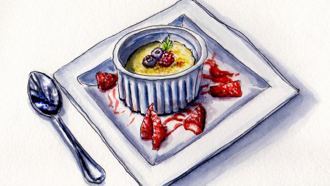 Crème Brûlée With Berries Doodlewash and watercolor sketch with silver spoon