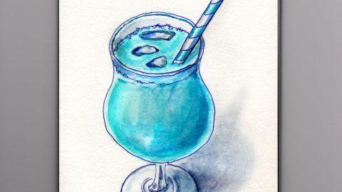Bantha Milk Cocktail - Star Wars Inspired blue milk drink from Tatooine in watercolor - doodlewash