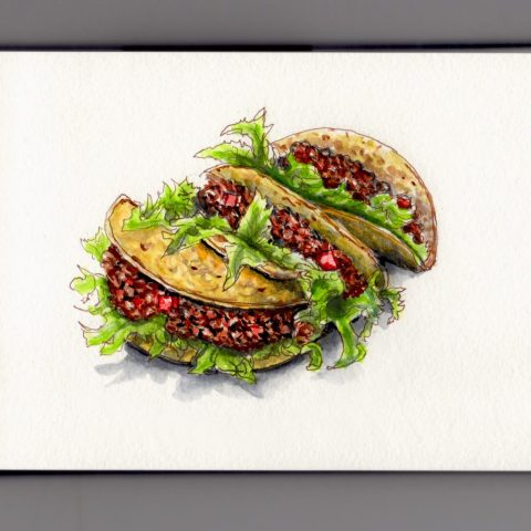 Tacos for Cinco de Mayo - doodlewash and watercolor of Mexican food lettuce and corn tortillas with ground beef