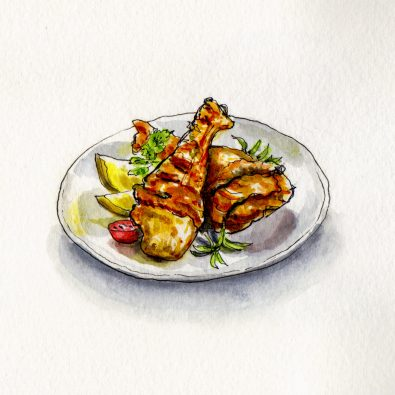 Chicken Drumsticks with lemon and rosemary on a plate - doodlewash and watercolor sketch