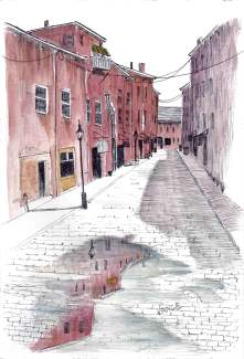 Cobblestone street by Jay Vance - Doodlewash and watercolor sketch of narrow street