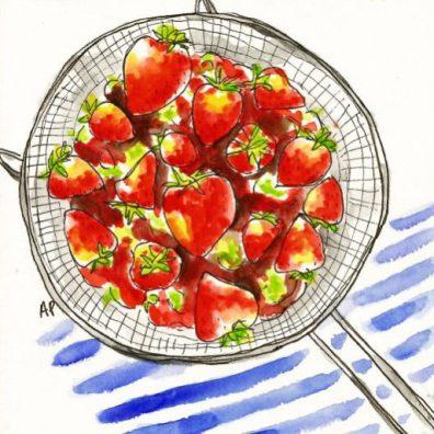 Annie Parsons - Doodlewash of strawberries in strainer