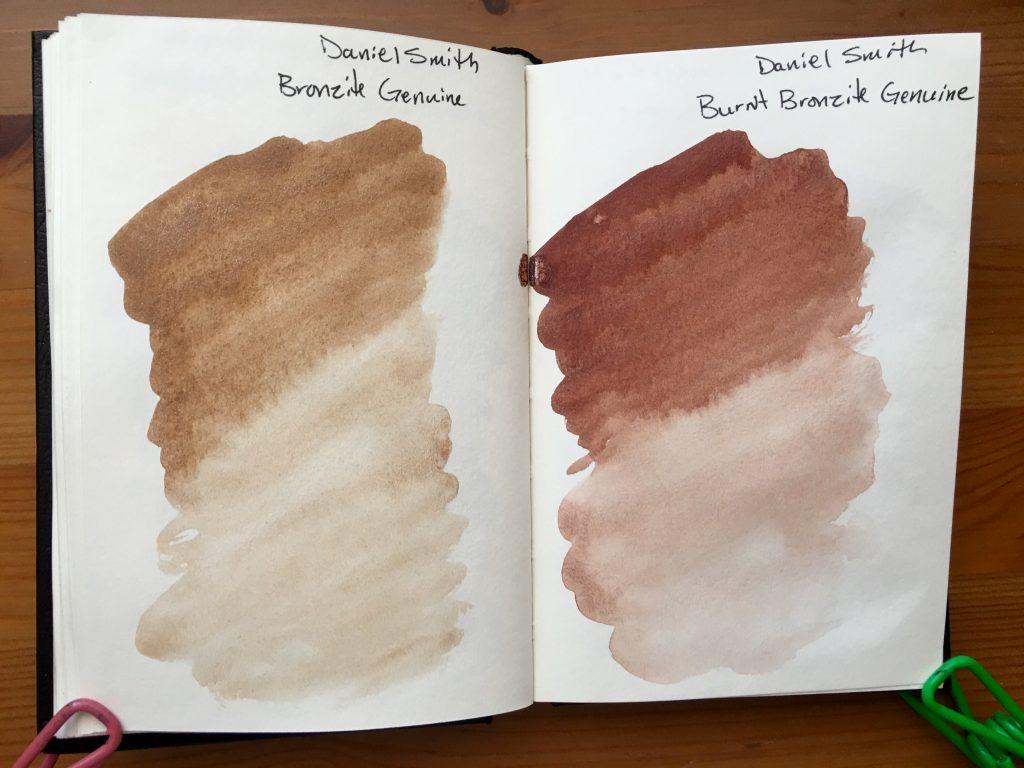 Daniel Smith PrimaTek watercolors swatches in a stillmand and birn gamma series journal Bronzite Genuine and Burnt Bronzite Genuine