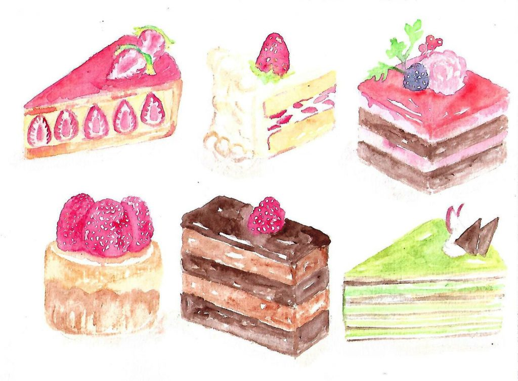 Doodlewash by Maria Christina Dina - watercolor of various desserts