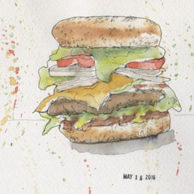 Carmel Campbell - Doodlewash of cheeseburger