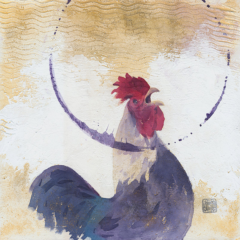 Doodlewash and watercolor by Ahmad Moghaddasi of rooster in circle on canvas