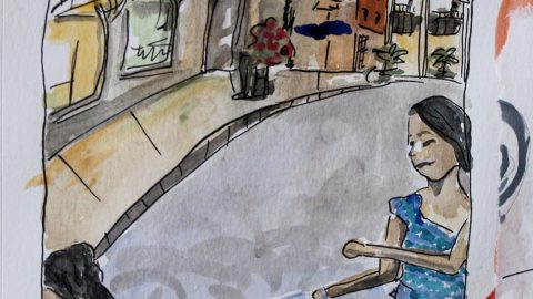 Doodlewash by Sam Orpiada watercolor sketch of kids playing in the street