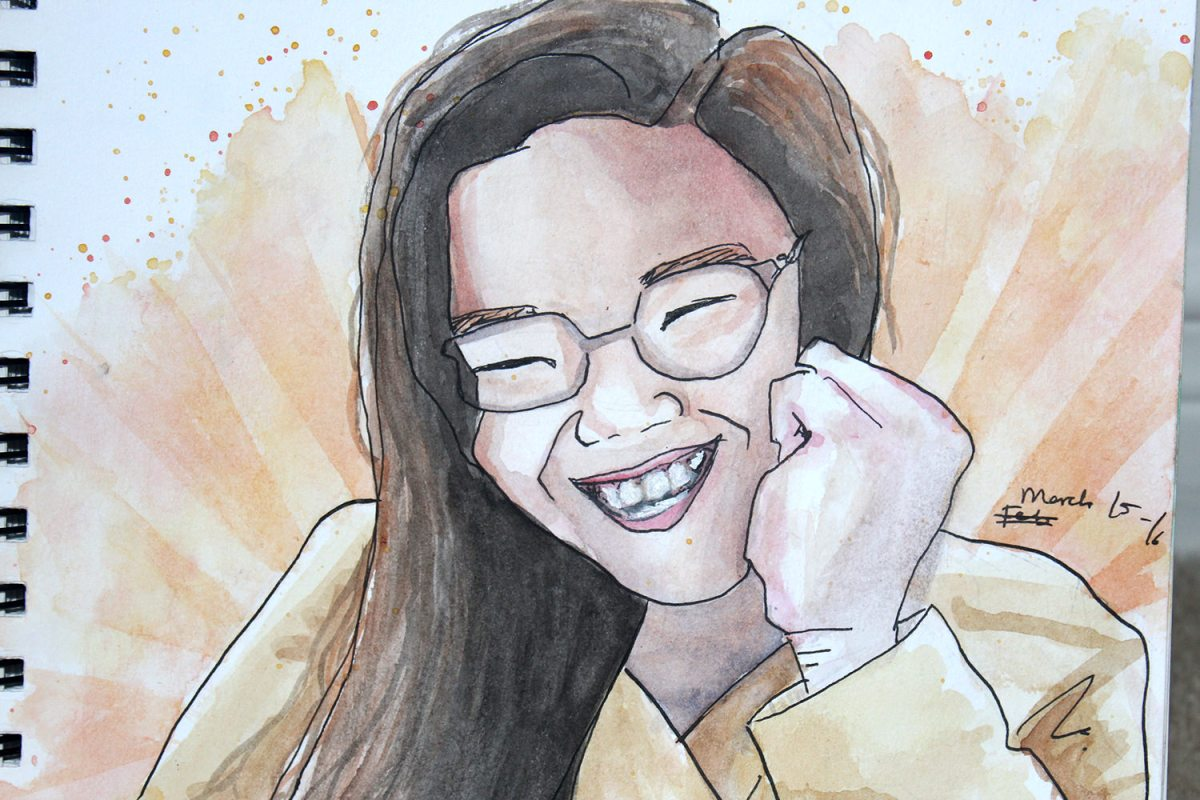 Doodlewash by Sam Orpiada watercolor sketch of woman in glasses laughing