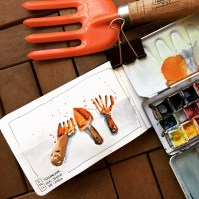Doodlewash and watercolor urban sketch of gardening tools by César Rodríguez