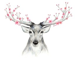 Doodlewash of deer antlers in watercolor with flowers by Mette Laustsen