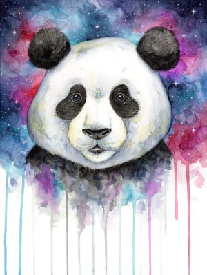 Doodlewash of Panda face in watercolor by Mette Laustsen