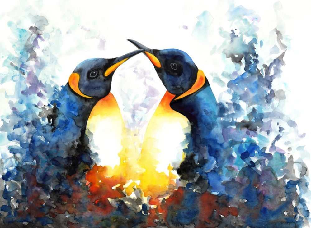 Doodlewash of two penguins in watercolor by Mette Laustsen