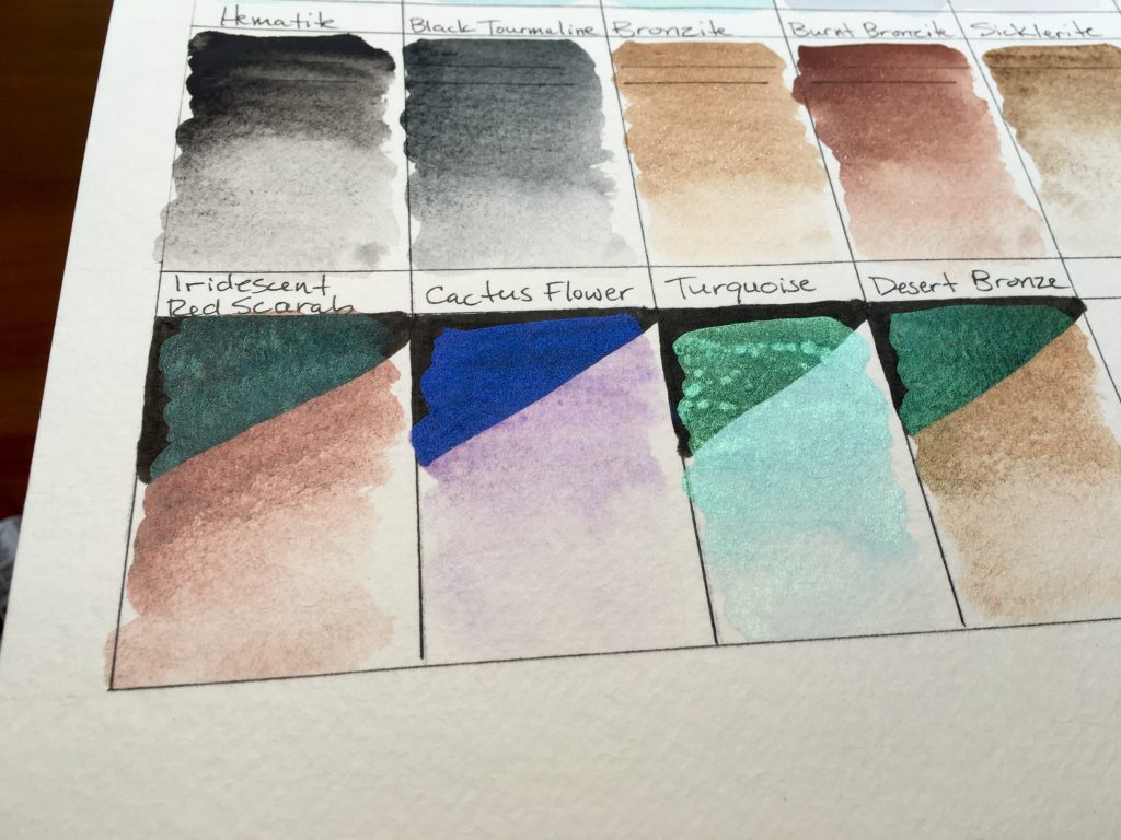 Daniel Smith Luminescent watercolors swatches on Strathmore 400 series watercolor paper Iridescent Red Scarab, Cactus Flower, Turquoise, Desert Bronze