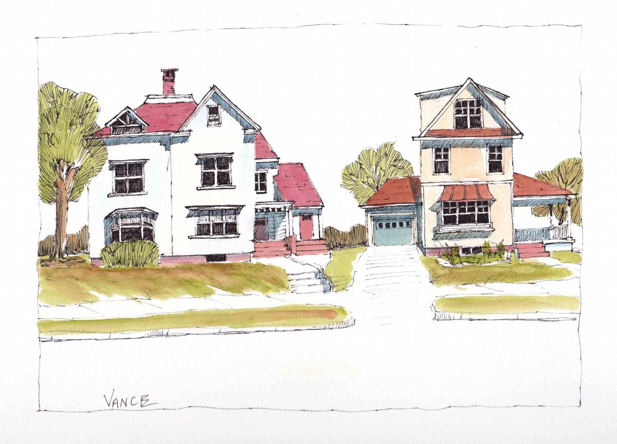 Houses by Jay Vance - Doodlewash and watercolor sketch of white house with red roof