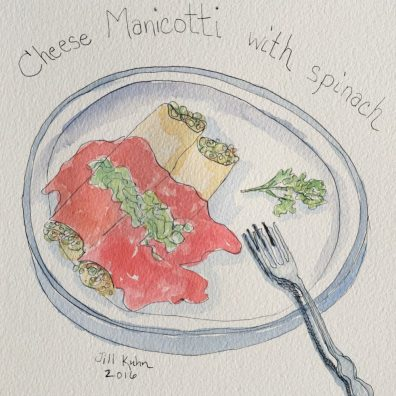 Jill Kuhn Doodlewash of Cheese Manicotti with Spinach