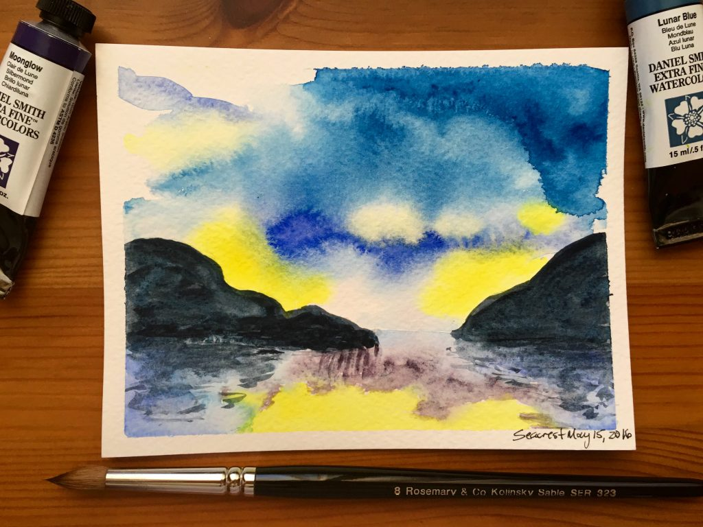 Daniel Smith Extra Fine Watercolor Lunar Blue, Hansa Yellow Light, Phthalo Blue, French Ultramarine, Moonglow and a rosemary & co kolinsky sable series 323 brush