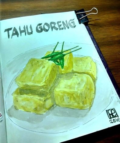 Doodlewash and watercolor sketch of Tahu Goreng by One Faristiwa