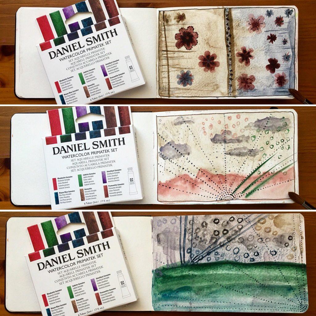 Daniel Smith Primatek watercolors painting sample in a Moleskine watercolor journal