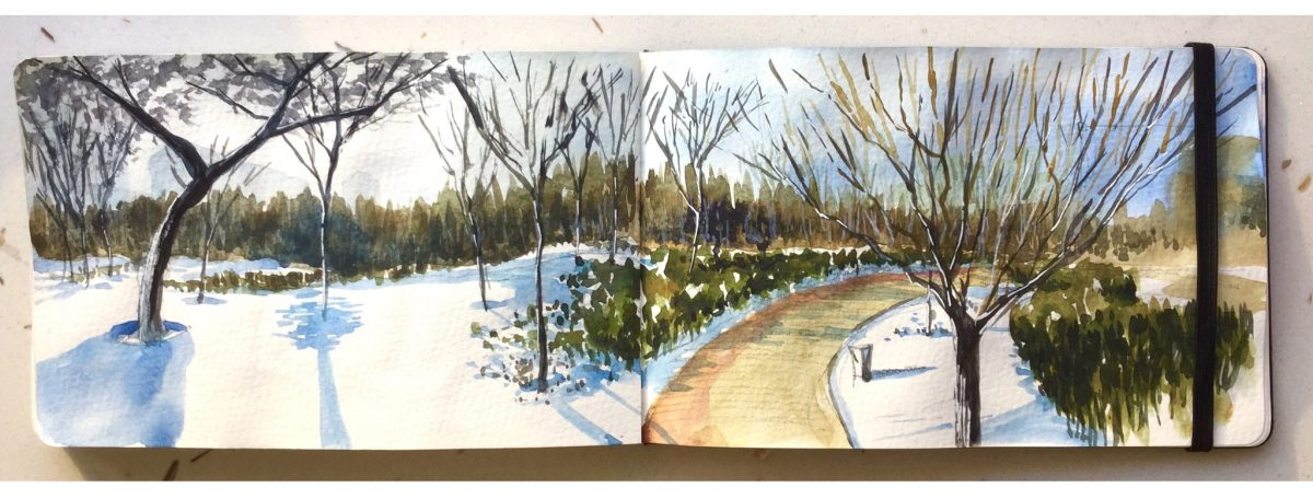 Doodlewash and watercolor sketch by Benny Kharismana of park scene with path and snow urban sketch